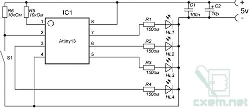 Схема светодиодной гирлянды на МК