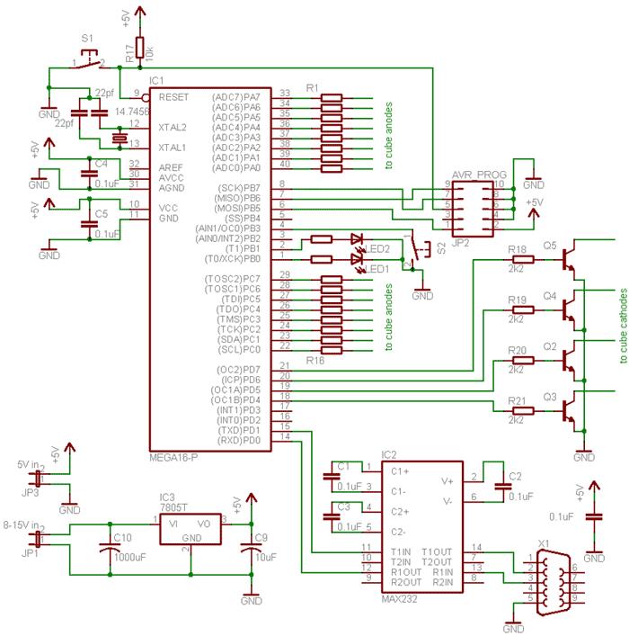 Схема светодиодного куба