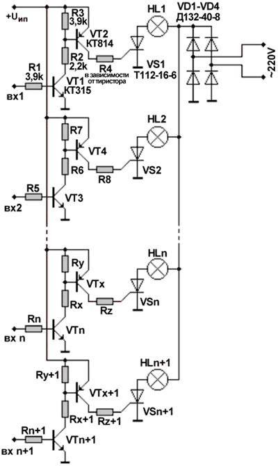 Схема линейки тиристорных