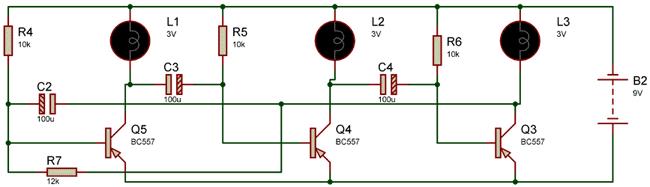 Схема мигалки на 3-х лампочках