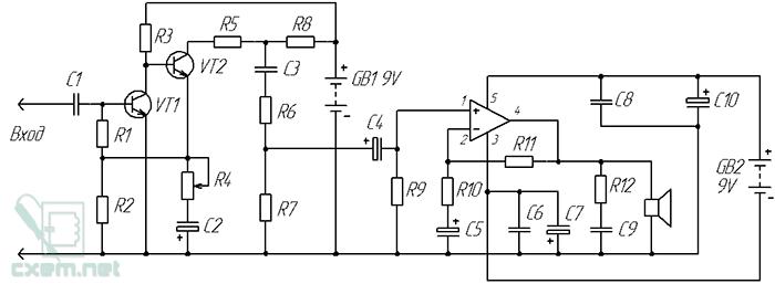 Схема электрическая принципиальная дисторшн