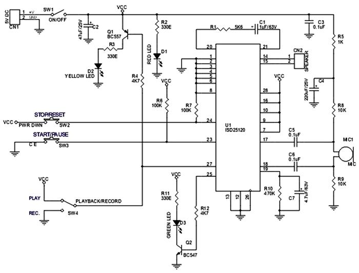 Схема устройства для записи звука на ISD25120