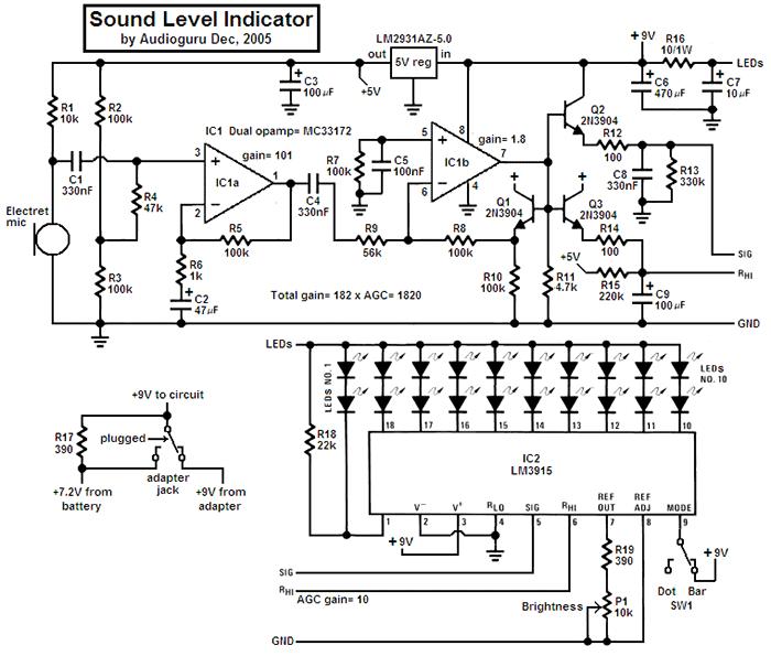 Схема индикатора уровня звука на LM3915