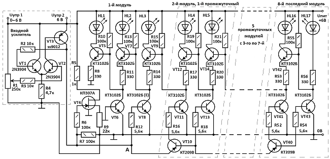 """Все светодиоды шкалы, кроме HL1 и HL17 управляются двумя транзисторами.  Назначение  """"нижних """" n-p-n по схеме..."""
