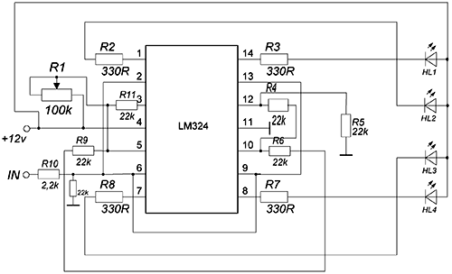audio level indicator on the lm324