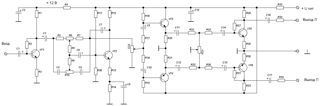 Пульт микшерный принципиальная схема.