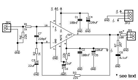 LM3886 включен по схеме как не