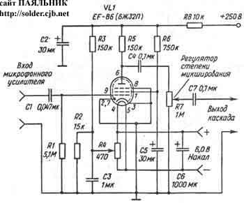 Ламповый предварительный стереоусилитель-коммутатор.  Схема микрофонного усилительного каскада.