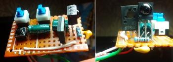 Переключатели, тактовая кнопка и TSOP приемник с обвязкой выведены на отдельную плату