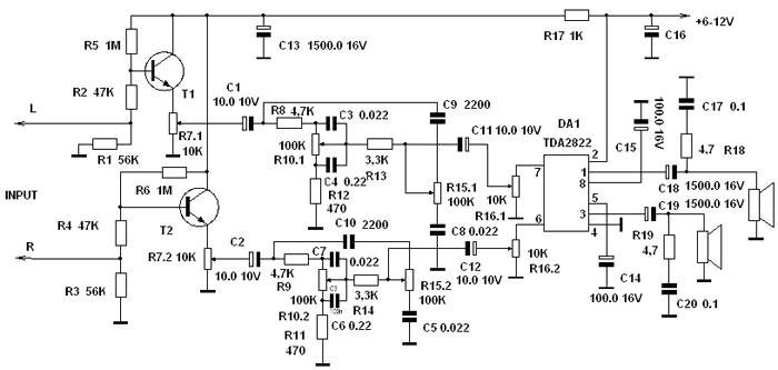Простой усилитель на микросхеме tda2822 с регулятором тембра.