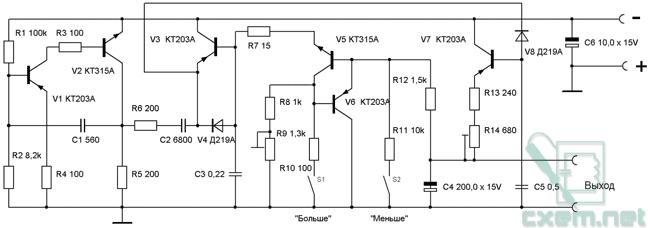 Схема кнопочного регулятора