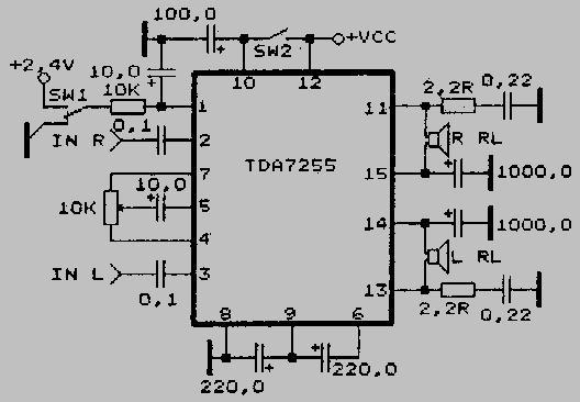 усилитель микросхема схема tda2009a.
