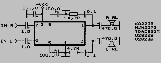 Справочные данные и схемы включения интегральных усилителей от TDA2009A до U821B  TDA2822M  TDA2822M  TDA2822M  TDA2822M