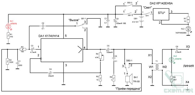 Схема проводного переговорного устройства для спелеологов