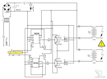 Схема двухканального ионофона на интегральной микросхеме NE555
