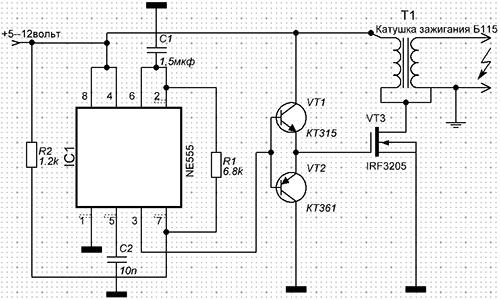 схема преобразователя напряжения на ne555 - Практическая схемотехника.
