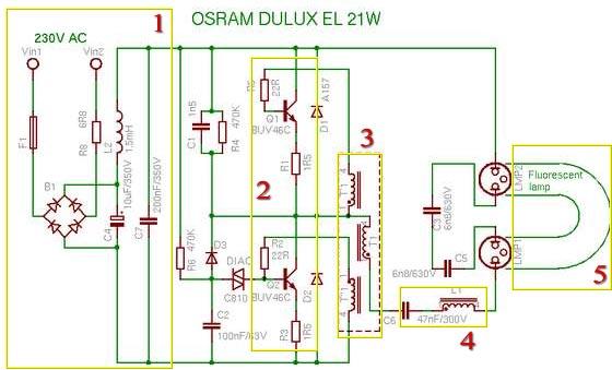 Типовая схема компактной люминесцентной лампы