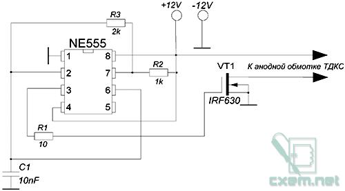 В качестве высоковольтного трансформатора использован ТДКС со встроенным выпрямителем, схема подключения ниже.
