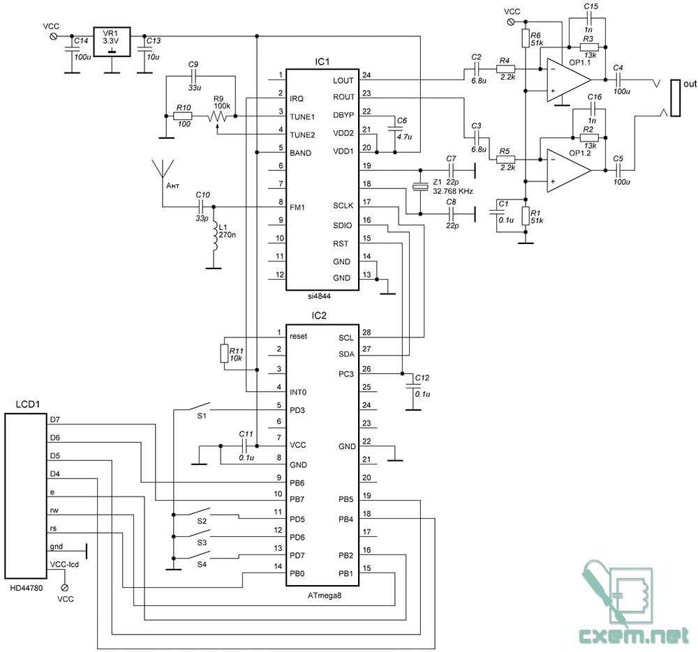 Приемник может принимать AM/SW/FM радиостанции.  В данной конструкции реализован прием станций в УКВ.