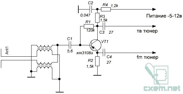 Принципиальная электрическая схема устройства.  Обладателям TV-FM тюнеров с раздельными антенными входами для радио и...