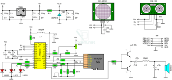 Схема устройства для обнаружения объектов и препятствий с голосовым оповещением.