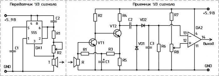 Схема ультразвукового модуля