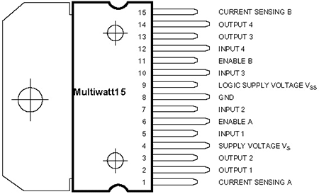 L298 (цоколевка на рисунке выше) и Arduino соединяются так: 1 ---- GND.