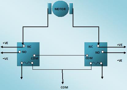 Два блока - реле 6В.  Электропривод - Двигатель постоянного тока.  COM провод должен быть подключен к GND схемы...